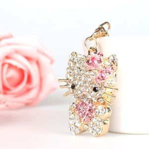 Hello Kitty w/ Heart Crystals on a Gold Keychain